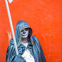 OAXACA , MEXICO - NOV 02 : Unidentified participant on a carnival of the Day of the Dead in Oaxaca, Mexico on November 02 2015. The Day of the Dead is one of the most popular holidays in Mexico