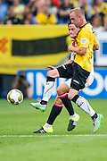 BREDA - NAC - Jong Ajax , Voetbal , Seizoen 2015/2016 , Jupiler league , Rat Verlegh Stadion , 21-08-2015 , Jong Ajax speler Damian van Bruggen (l) in duel met NAC Breda Sjoerd Ars (r)