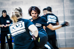 An action image of students, as Franklyn Hartkamp takes the Institute Of Krav Maga Scotland grading today at Stirling.<br /> &copy;Michael Schofield.