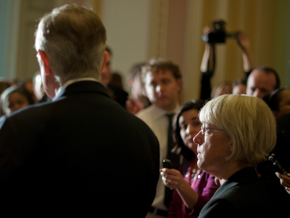 Nov 30, 2010 - Washington, District of Columbia, U.S. - Senator PATTY MURRAY (D-WA) looks on as Senate Majority Leader HARRY REID announces to the media that Murray accepted the post of chairwoman of the Democratic Senatorial Campaign Committee,. (Credit Image: © Pete Marovich/ZUMA Press)