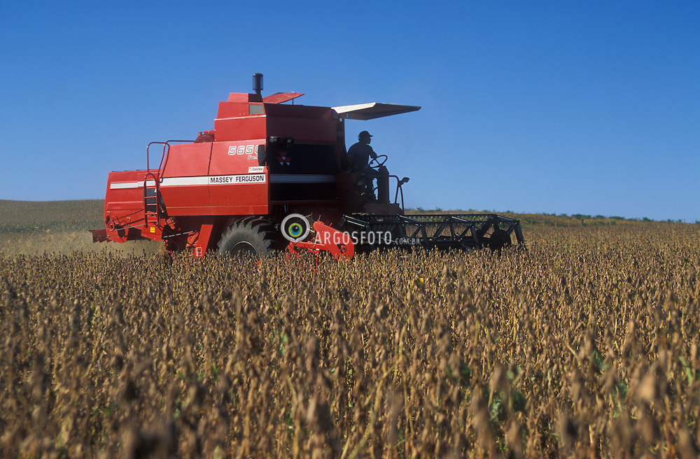 Pinhal Grande, RS, Brasil. 2003.Colheita de Soja mecanizada. Mechanical Soya harvest..Foto © Adri Felden/Argosfoto