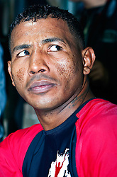 "PASADENA, California (September, 23 2008) - Three-Time World Champion Ricardo ""El Matador"" Mayorga of Managua, Nicaragua  answered questions to ESPN Deportes, TeleNica Canal 8 and TeleMundo Canal 52 at the Media Workout in Pasadena,CA (USA) Sept 23, 2008. Mandatory Credit PHOTO: © Eduardo E. Silva."