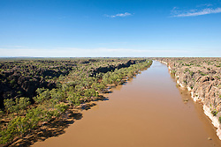 Aerial view of the Fitzroy River cutting through Geikie Gorge near Fitzroy Crossing.