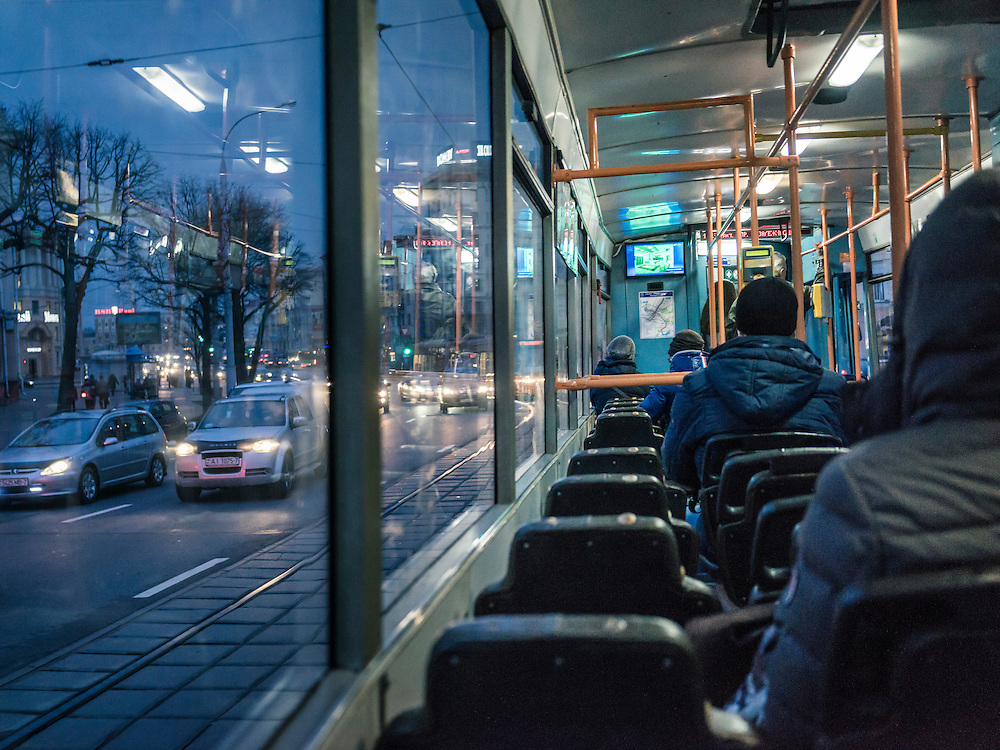 A tram at evening rush hour on Monday, November 23, 2015 in Minsk, Belarus.
