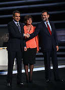 Jose Luis Rodriguez Zapatero, Spanish prime minister, and Mariano Rajoy, the leader of Popular Party, shake hands minutes before a debate that took place in Madrid, Spain, on Monday, March 3, 2008.