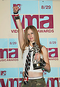 Avril Lavigne in the Press Room at the 2002 MTV Video Music Awards at Radio City Music Hall in New York City, August 29, 2002. Photo by Evan Agostini/ImageDirect.