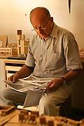 14.06.2006 Warsaw Poland, portrait of Stanislaw Fiszer architect in his study. Fot Piotr Gesicki