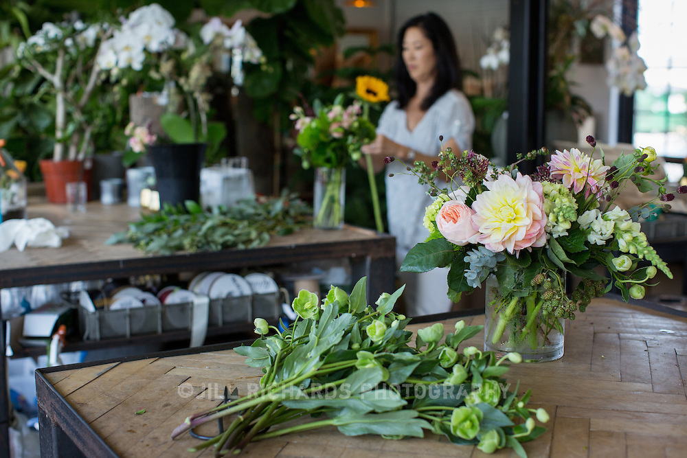 JoAnne Doyle, a buyer and designer with Camelback Flowershop puts together arrangements. Camelback Flowershop offers floral bouquets and succulent arrangements, but also Phoenix-made soaps, candles, original artwork by local artists, goat&rsquo;s milk caramels and more.<br /> <br /> Camelback Flowershop located at 4108 E Indian School Rd, Phoenix, AZ 85018.