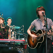 Tegan & Sara performs during the second day of the 2008 Bonnaroo Music & Arts Festival on June 13, 2008 in Manchester, Tennessee. The four-day music festival features a variety of musical acts, arts and comedians. Photo by Bryan Rinnert