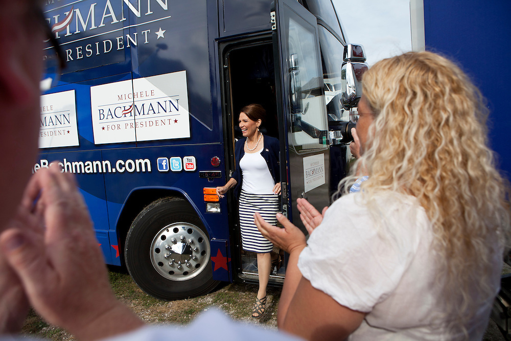 Republican presidential hopeful Michele Bachmann campaigns on Tuesday, August 9, 2011 in Humboldt, IA.