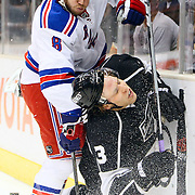02 February 2010: Rangers Forward Brandon Prust (8) hits Kings Defenseman Jack Johnson (3) from behind during first period of the NHL regular season game between the New York Rangers and the Los Angeles Kings at the Staples Center in Los Angeles, CA.