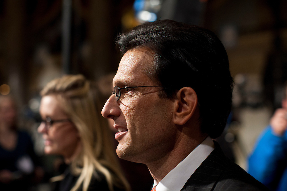 House Majority Whip Eric Cantor (R-VA) arrives for President Barack Obama's State of the Union address in the U.S. Capitol on Tuesday, January 24, 2012 in Washington, DC.