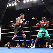"Welterweight boxing pro ""The New"" Ray Robinson (R) of Philadelphia, PA in action during champs at the chase against Welterweight boxing pro Daniel Sostre (L) Friday, Nov 21, 2014 at The Case Center on The River Front in Wilmington, Del."