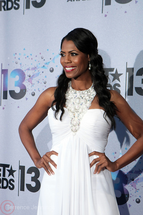 Los Angeles, CA-June 30:  Reality TV Personality Omarosa Manigault backstage at the 2013 BET Awards Winners's Room Inside held at LA Live on June 30, 2013 in Los Angeles, CA. ©Terrence Jennings