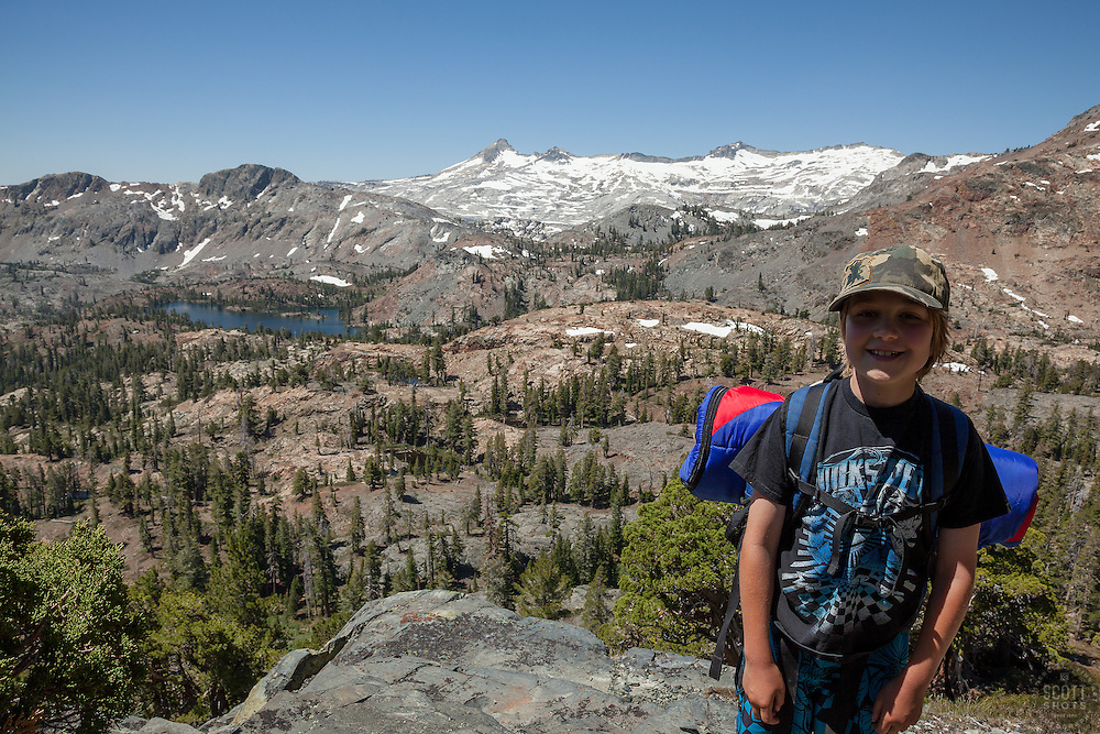 """""""Backpacking in Desolation WIlderness"""" - This boy was photographed backpacking above Susie Lake in the Tahoe Desolation Wilderness."""