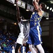 Delaware 87ers Center JORDAN RAILEY (32) attempts to block Iowa Energy Guard Mardracus Wade (10) shot attempt in the first half of a NBA D-league regular season basketball game between the Delaware 87ers and the Iowa Energy Friday, Mar. 04, 2016, at The Bob Carpenter Sports Convocation Center in Newark, DEL. Photo By Saquan Stimpson