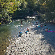 "Record hot August day on the Olympic Peninsula brings people to ""the beach""—along the Dungeness River."