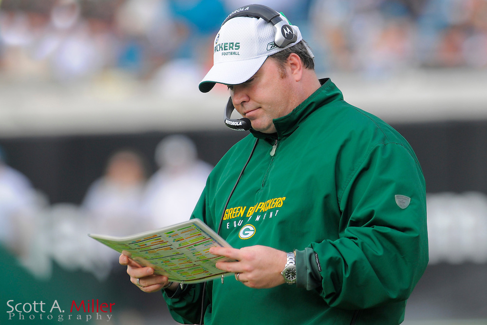 Dec. 14, 2008; Orlando, FL, USA; Green Bay Packers coach Mike McCarthy during the second half of the Packers' 20-16 loss to the Jacksonville Jaguars at Jacksonville Municipal Stadium. Mandatory Credit: Scott A. Miller-US PRESSWIRE...©2008 Scott A. Miller