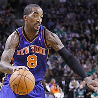 04 March 2012: New York Knicks shooting guard J.R. Smith (8) is seen during the Boston Celtics 115-111 (OT) victory over the New York Knicks at the TD Garden, Boston, Massachusetts, USA.