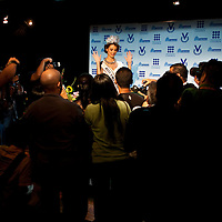 Miss Universe 2009 Venezuelan Stefania Fernandez during a press conference in Caracas, Saturday, Sept. 19, 2009. (ivan gonzalez)