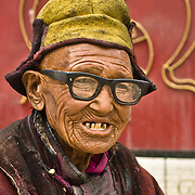 Very old man with wrinkled face in Ladakh, India