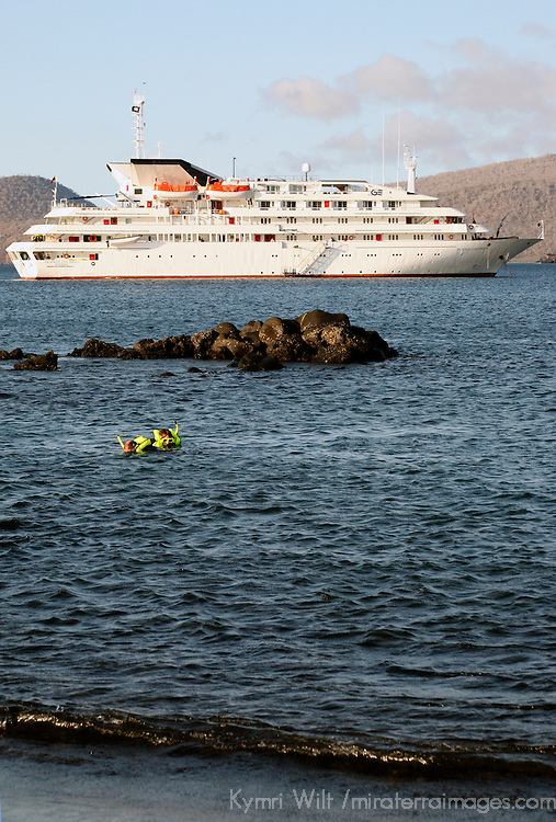 The MV Galapagos Explorer II offshore at Snatiago Island in the Galapagos. Ecuador, South America