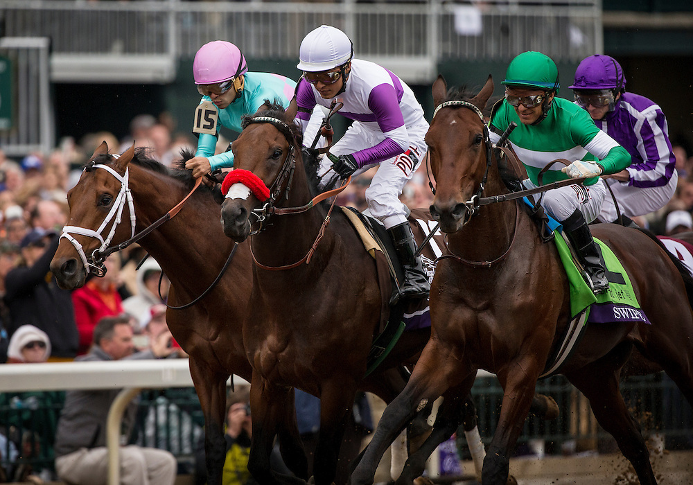 October 31, 2015:  Nyquist with Mario Gutierrez (center) and Swipe and Victor Espinoza break from the starting gate in the Breeders' Cup Juvenile at Keeneland Race Track in Lexington, Kentucky. Evers/ESW/CSM