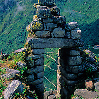 South America; Peru; Machu Picchu. Window of stones.