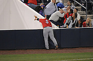 Austin Peay's Greg Bachman (5) is unable to catch a pop foul at Oxford-University Stadium in Oxford, Miss. on Tuesday, March 1, 2010.
