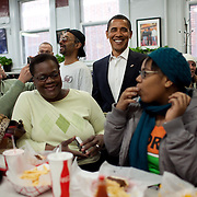 President-elect Barack Obama and DC Mayor Adrian Fenty eat lunch at Ben's Chili Bowl Saturday, January 10, 2009...Photo by Khue Bui