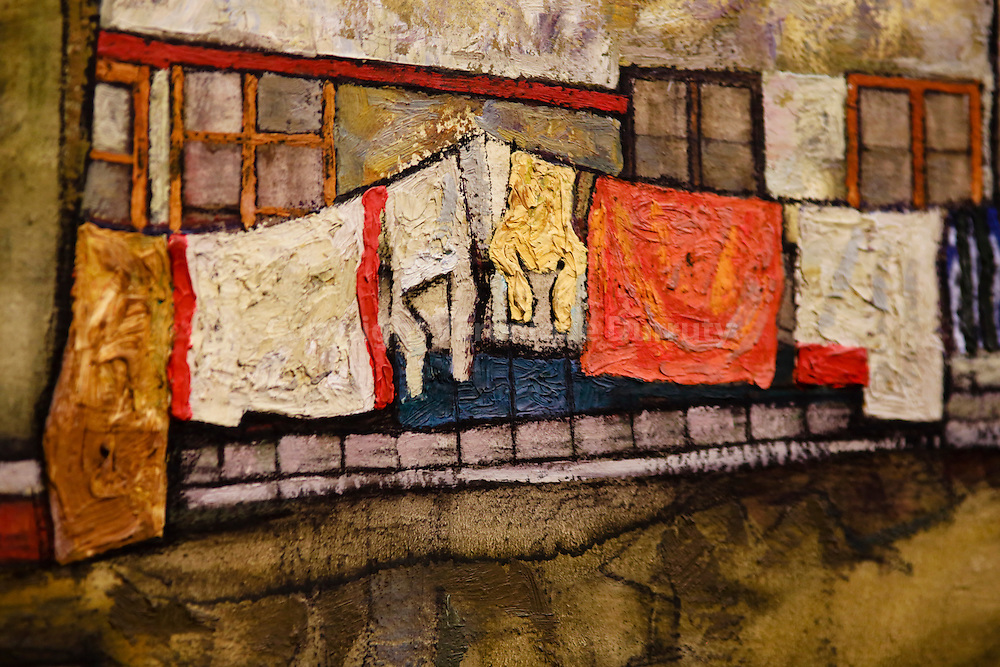 Egon Schiele, Hauswand am Fluss, 1915,  ( house wall on the river ) , Leopold Museum, Vienna, Austria - detail // Egon Schiele, Hauswand am Fluss, 1915,  ( maison sur la riviere ) ,  Musee Leopold, Vienne, Autriche - detail