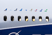 Detail of the windows on the new Boeing 787-10 Dreamliner aircraft unveiled at the Boeing factory February 17, 2016 in North Charleston, SC. President Donald Trump attended the rollout ceremony for the stretch version of the aircraft capable of carrying 330 passengers over 7,000 nautical miles.