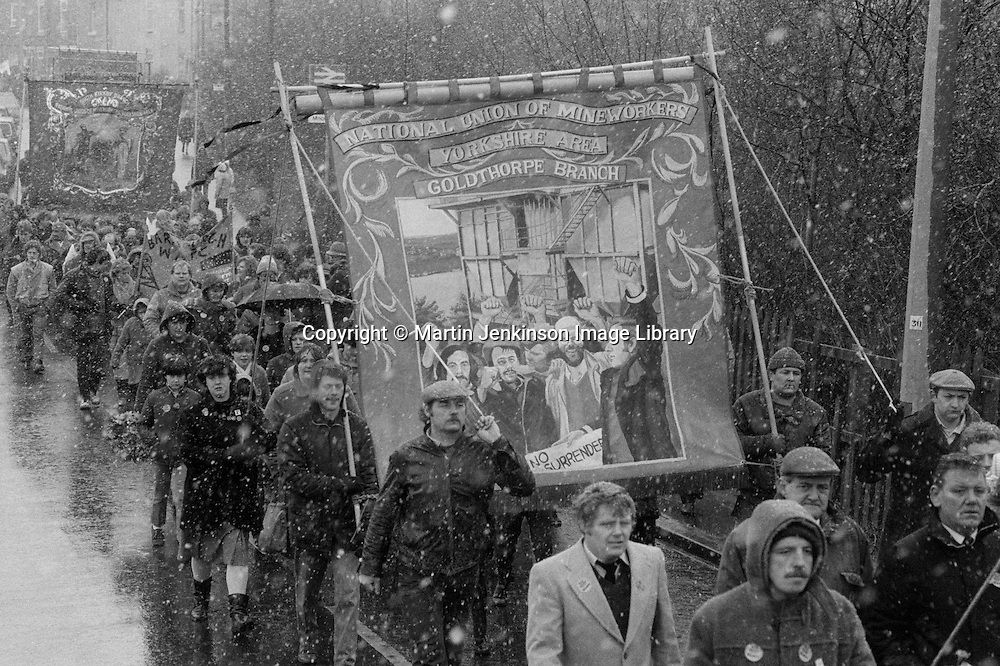 David Jones memorial march, Moorthorpe. March 1985.