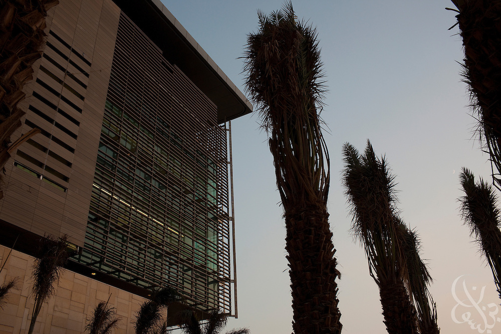 Palm trees frame one of the laboratory buildings on the King Abdullah University of Science and Technology (KAUST) campus September 22, 2009. KAUST is an international, graduate-level research university dedicated to inspiring a new age of scientific achievement in the Kingdom that will also benefit the region and the world. (Photo by Scott Nelson)