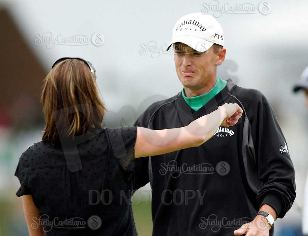 18 February 2007: First place winner Charles Howell III reacts with his wife Heather on the 14th hole, third playoff hole during the final round of the Nissan Open PGA golf tournament at the Riviera Country Club in Los Angeles, CA.