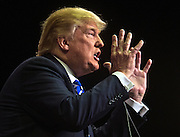 Republican Presidential candidate Donald Trump makes a statement during his speech in Mystere at Treasure Island during another campaign stop in Las Vegas on Thursday, October 08, 2015.