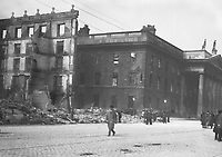 The ruins of the Metropole Hotel on Sackville (O'Connell) St after it was destroyed by fire during the Rising. This site is now occupied by Penneys.<br />