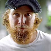 SHOT 9/16/09 11:06:12 AM - Josh Halder (with beard) of Verde Farms in Larkspur, Co. poses for a portrait surrounded by microgreens and specialty produce he grows for Fruition and a number of other local restaurants in the Denver, Co. area. He has plans down the road to produce sheep's cheese, eggs and eventually provide a majority of the produce used at Fruition. Chef Alex Seidel and Halder bought the foreclosed property in May 2009 and have been working to bring it back up to speed.  (Photo by Marc Piscotty / © 2009)