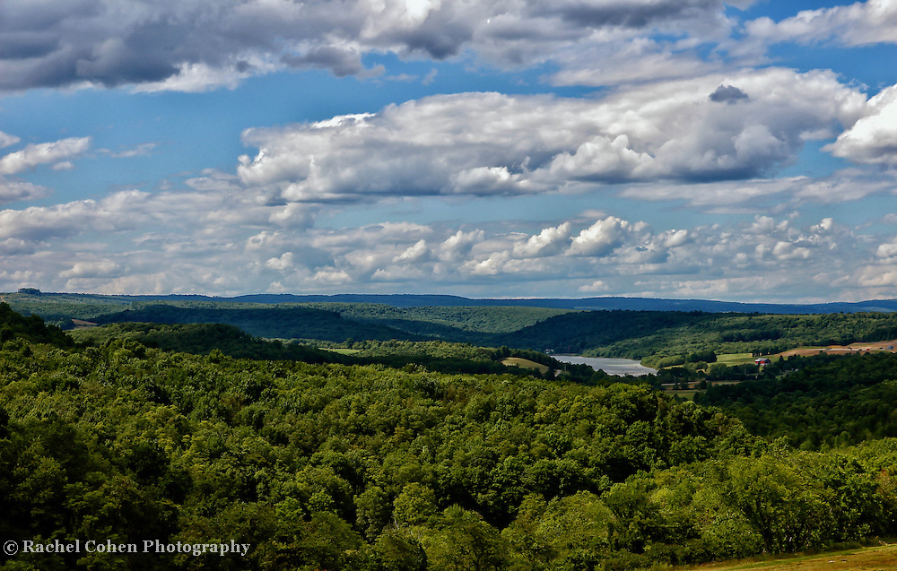 &quot;The High Road&quot;<br /> <br /> <br /> Gaze out into the valleys below with the deep green forests, highlands and lakes. Skies over head cast shadows as the clouds move quickly across the beautiful landscape!!<br /> <br /> Laurel Highlands Area of Pennsylvania by Rachel Cohen