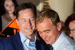 Islington Assembly Hall, London, July 16th 2015. The Liberal Democrats announce their new leader Tim Farron MP who was elected by party members in a vote against Norman Lamb MP. PICTURED: Nick Clegg congratulates  Tim Farron on his victory.