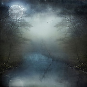 Full moon shining over a misty river scenery - manipulated photograph / composing