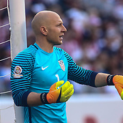 United States Keeper BRAD GUZAN (1) directs traffic near the net in the first half of a Copa America Centenario Group A match between the United States and Paraguay Saturday, June. 11, 2016 at Lincoln Financial Field in Philadelphia, PA.