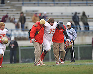 Lafayette High's Eli Johnson (75) is injured vs. Forrest County AHS in the MHSAA Class 4A championship game at Mississippi Veterans Memorial Stadium in Jackson, Miss. on Saturday, December 7, 2013. Forrest County AHS won 21-6.