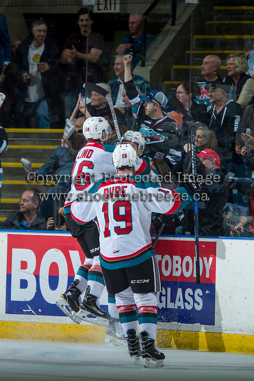 KELOWNA, CANADA - APRIL 30: Kole Lind #16 and Dillon Dube #19 of the Kelowna Rockets celebrate a goal against the Seattle Thunderbirds on April 30, 2017 at Prospera Place in Kelowna, British Columbia, Canada.  (Photo by Marissa Baecker/Shoot the Breeze)  *** Local Caption ***