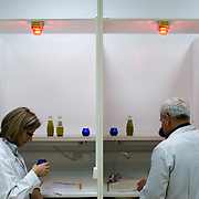 two chemists tasting olive oil at the olive oil testing room