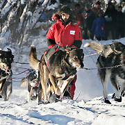 Lance Mackey was the first musher out of Dawson City on Thursday afternoon.