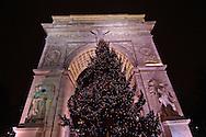 Christmas Tree, Washington Square Arch, designed by McKim Mead & White, Washington Square Park, Greenwich Village, New York, New York