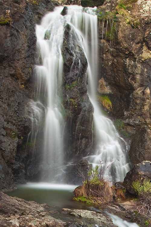 Carson falls in fairfax california is accessed via pine mountain fire road.<br /> This is an open area, very rugged and rich with photographic opportunity as Carson falls is a series of many cascades tumbling down the mountain.
