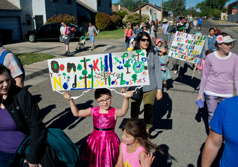 """mkb042117a/metro/Marla Brose --  Holding an Earth Day sign, Kaitlyn, an Escuela del Sol Montessori School student walks with family and friends during the school's annual Earth Day parade around the school's Albuquerque neighborhood, Friday, April 21, 2017. """"Even if you are small, you are mighty. Everyone can make a difference,"""" said Elizabeth Marcilla, assistant head of school. About 300 people participated in the parade. (Marla Brose/Albuquerque Journal)"""