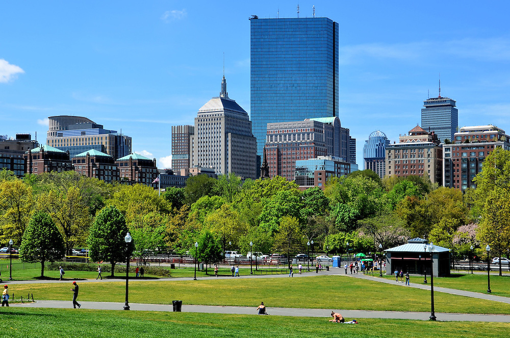 Boston Common and Back Bay Skyline in Boston, Massachusetts  <br />